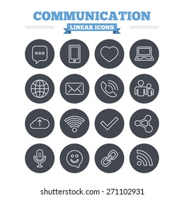 Communication linear icons set. Smartphone, laptop and speech bubble symbols. Wi-fi and Rss. Online love dating, mail and globe thin outline signs. Flat circle vector