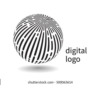 Communication logo. Vector black and white earth globe, symbol of social network, progress and high technology.