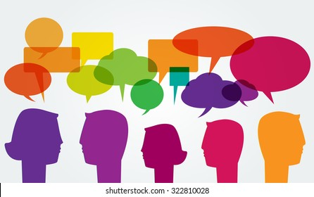 Communication. Man and woman head silhouettes with colorful speech bubbles