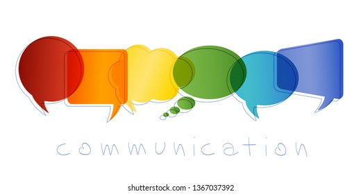 Communication and network concept. Isolated Speech bubble with rainbow colors. Text communication. Online community. Friends chatting. Contacts and online marketing. Vector