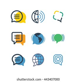 Communication Network Social Chat Logo Icon Vector