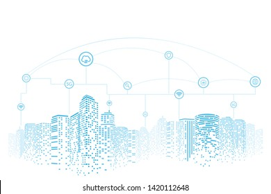 Communication and networking in a digital society. White background. Future city or smart city concept.