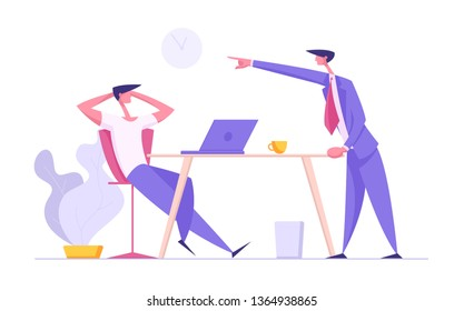 Communication at Office Work Concept with Businessmen Characters Discuss Project Process. Lazy Worker with Laptop and Angry Boss for Banner. Vector Flat illustration