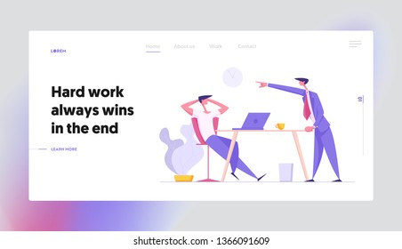 Communication at Office Work Concept Landing Page with Businessmen Characters Discuss Project Process. Lazy Worker with Laptop and Angry Boss for Banner, Website, Web Page. Vector Flat illustration