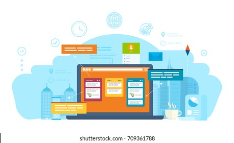 Communication, online chat in live chat with support of website and dialogues, web resources, consultations, information messages. Project management, task manager, crm systems. Vector illustration.