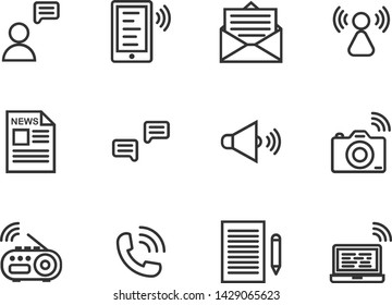 Communication outline icon set ,Vector