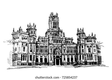 Communication Palace In Madrid, Spain, hand-drawn by a black handle, a traced image of the building is an example of a modernist style.