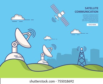 Communication parabolic satellite dish space receivers.Landscape Urban.The artificial satellite in an earth orbit the transmitting signal on the surface of the planet.Wireless technology cartoon flat.