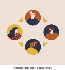 Communication of people by the Internet, social networking, messages, web site, search friends, chat, video, mobile vector illustration. Avatars or icons of social network.
