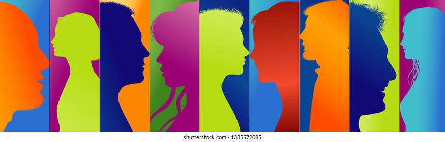 Communication people. Connected crowd. Community group people. Social media. Concept networking. Diversity silhouette profile