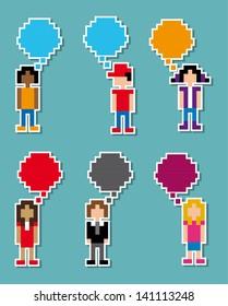 communication pixel design over blue background vector illustration