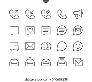 Communication Pixel Perfect Well-crafted Vector Thin Line Icons 48x48 Ready for 24x24 Grid for Web Graphics and Apps with Editable Stroke. Simple Minimal Pictogram Part 1-3