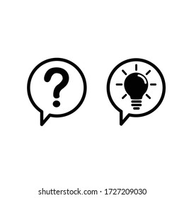 communication question and idea icon isolated on white background. vector illustration.
