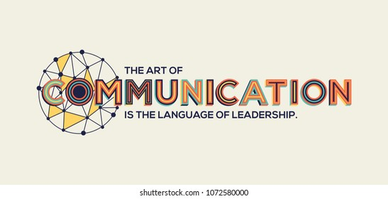Communication quote in modern typography. Communication concept in geometric style.