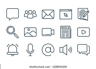 Communication related line icon set. Media linear vector icons.