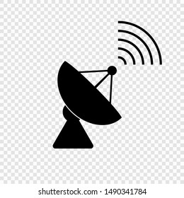 Communication satellite antenna simple vector icon