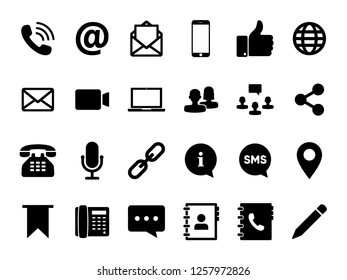 Communication set icon vector. Related Icons: Email icon, Phone icon, Share, Bookmark and more. Flat Glyph icon