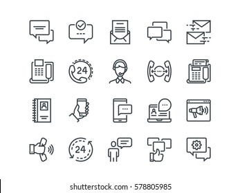 Communication. Set of outline vector icons. Includes such as Phone Calls, Video Chat, On-line Support and other. Editable Stroke. 48x48 Pixel Perfect