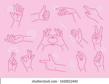 Communication sign expressed by hand. flat design style minimal vector illustration