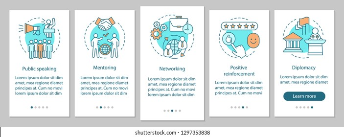 Communication skills onboarding mobile app page screen vector template. Public speaking, mentoring, diplomacy. Employee abilities walkthrough website steps. UX, UI, GUI smartphone interface concept