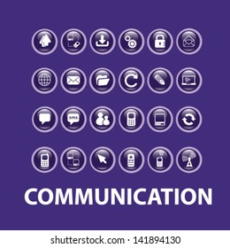 communication, social media, internet glossy buttons, icons, signs set, vector