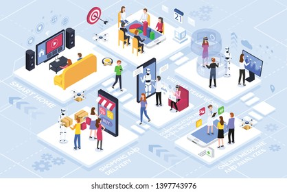 Communication social networks, innovative technologies and online innovation medical care, shopping and delivery products, virtual teamwork department. Intelligence technologies, augmented reality