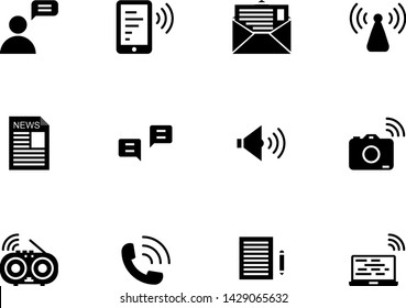 Communication solid icon set ,Vector
