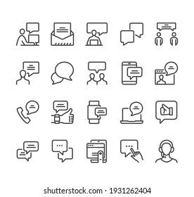 Communication speech bubble isolater icon line thin icon set