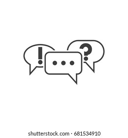 Communication symbol. Speech bubbles icons with ellipsis, question and exclamation mark. Pictograph of chat or message. Vector illustration