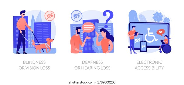 Communication technology for disabled people abstract concept vector illustration set. Blindness and vision loss, deafness, electronic device accessibility, hearing problem abstract metaphor.
