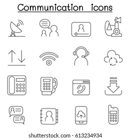 Communication & Technology icon set in thin line style