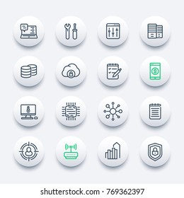 communication and technology, IT linear icons set