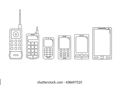 Communication telephone progress. Phone evolution.