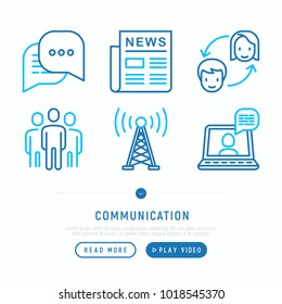 Communication thin line icons set: newspaper, letter, chat, support, video call. Modern vector illustration.