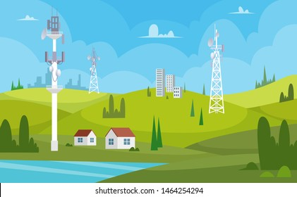 Communication towers. Wireless antennas cellular wifi radio station broadcasting internet channel receiver vector cartoon background. Illustration of connection antenna wireless, signal transmitter