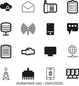 communication vector icon set such as: database, abstract, site, graphic, application, click, center, hosting, www, connect, finger, send, navigation, desktop, cell, envelope, transmission, pc