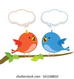 Communication. Vector illustration of two little birds communicating with each other.
