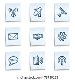 Communication  web icons, blue notes