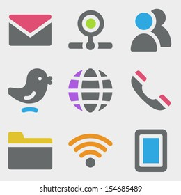 Communication web icons color icons