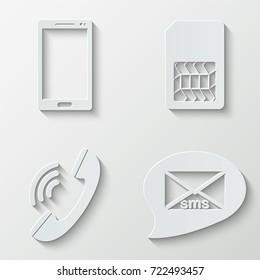 Communication web icons - paper  set