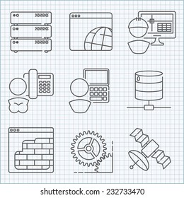 Communication and web service  icons set for applications and infographics