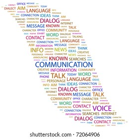 COMMUNICATION. Word collage on white background. Vector illustration. Illustration with different association terms.