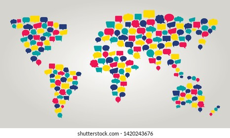 Communication world map. Worldwide connection and support.Map made of colorful speech bubbles. Symbol Of language translation and interpretation. Network around the world. Vector illustration.