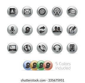 Communications Icons // Metal Round Series -- The vector file includes 5 color versions for each icon in different layers.