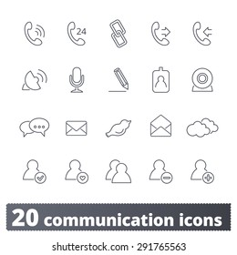 Communications icons: vector set. Business and social thin line signs. Outline series.