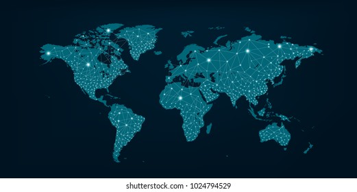 Communications network map of the world Blue map Dark blue background