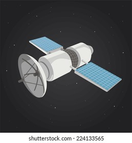 Communications satellite in space
