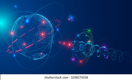 Communications satellite in space orbit earth. Satellite antenna broadcasting digital radio or satellite TV signal. Abstract technology background. Future concept.