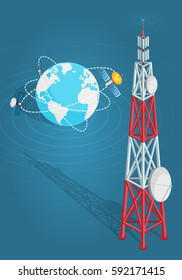Communications satellites transmits to high tower with two dishes isolated on blue. Artificial sputniks rotates around planet Earth. Vector illustration of wireless technology in cartoon flat style.