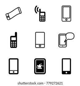 Communicator icons. set of 9 editable filled and outline communicator icons such as phone